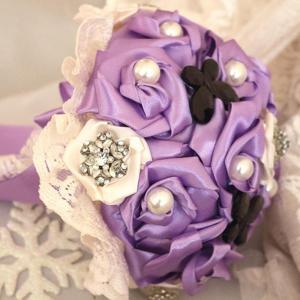 Булчински букет от сатен Lavender