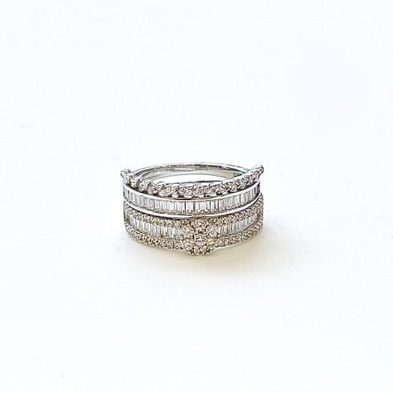Дамски двоен пръстен с цирконии  SR1019