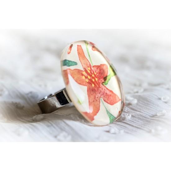 Дамски пръстен от смола Цвете  PB0009