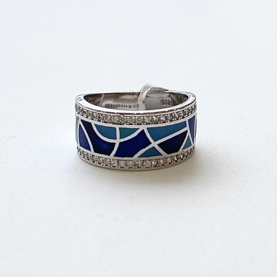 Дамски сребърен пръстен с емайл  SR1023
