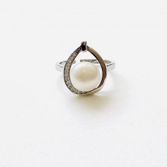 Дамски сребърен пръстен с цирконии и перла  SR1009