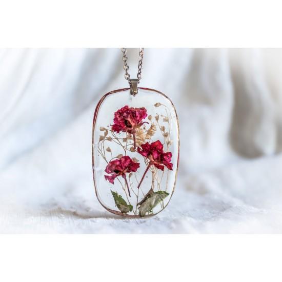 Дамско елипсовидно колие от бижутерийна смола и цветя Рози  PB0023
