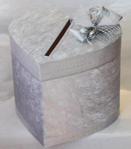 Сватбена кутия за пари в сребристо КК004