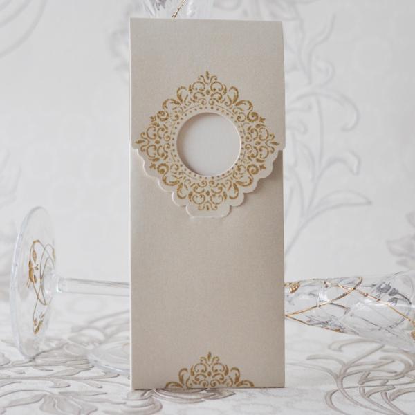 Покани за сватба със златиста декорация модел P21021